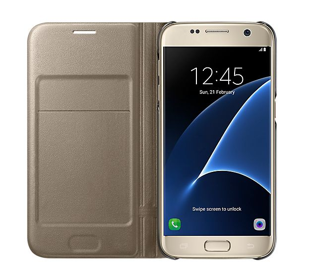 official samsung galaxy s7 edge led flip wallet cover gold reviews